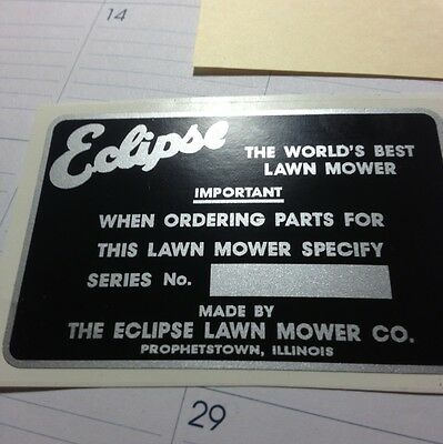 Eclipse Lawn Mower often B & S equipped, serial # decal