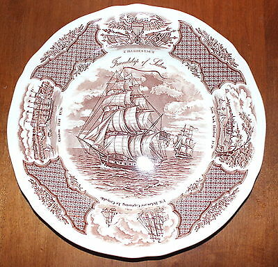Set of 4 Dinner Plates Alfred Meakin Fair Winds in Brown Historical Scenes S1