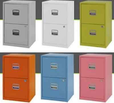 Metal Filing Cabinet 2 Drawer Office Storage Industrial Stationary Lockable Home