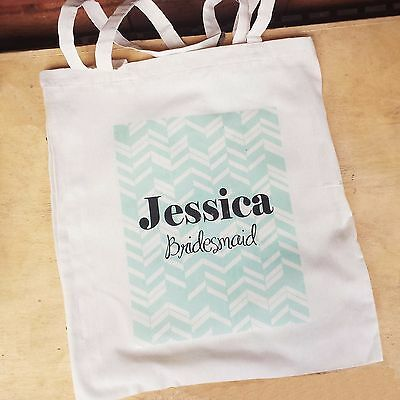 PERSONALISED Tote Canvas Bag Wedding Bridal Bride Bridesmaid Hens Shower Gift