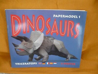 Dinosaur For Adults Build Your Own Paper Model 1 Triceratops In 5 Languages New