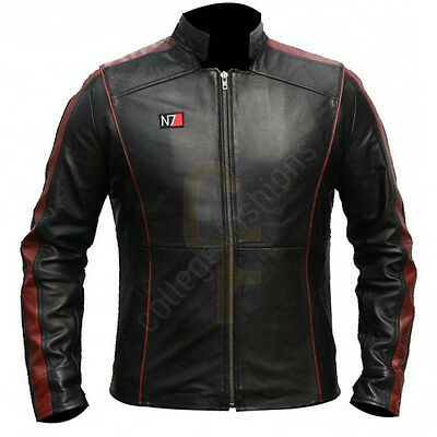 Mass Effect 3 Game N7 Captain Shepard Black Men's Leather Jacket