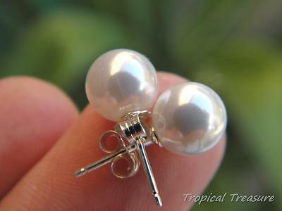 White 8mm Shell Pearl Earring Studs - 925 SOLID Sterling Silver