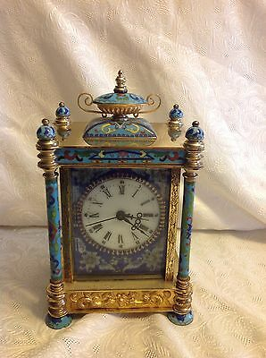 Vintage Chinese French Style Cloisonné Brass Crystal Clock Porcelain