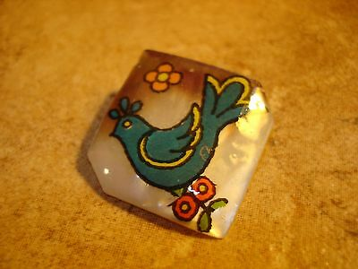 Gorgeous large square shape mother of pearl button with blue dove