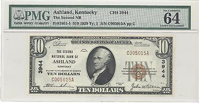 1929 $10 Type 1 Second National Bank of Ashland, KY PMG 64 EPQ Ch UNC F#: 1801-1