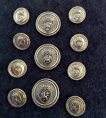 VINTAGE Antique Gold Buttons-Suit/Blazers Metal Shank-Set of 11-NEW HIGH QUALITY
