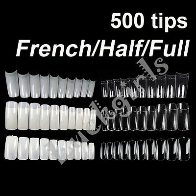 500 pcs French Half Full False Artificial Nail Art Tips Acrylic UV Design Tip
