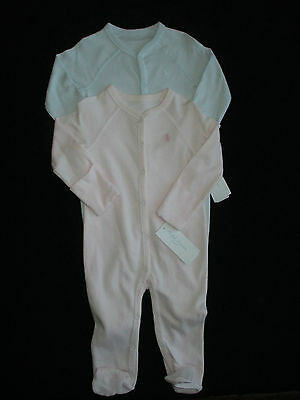 NWT Ralph Lauren Baby Boys Girls Outfit Blue Pink Coverall Layette 6 9 Mo