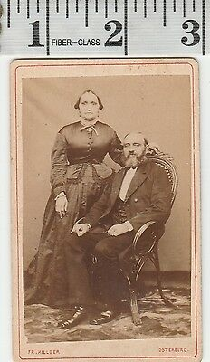 Old Vintage Photograph CDV Man with beard and mustache lady stands by #450