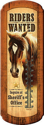 Thermometer Horse Riders Wanted Inquire At Sheriffs Office Tin Indoor Out 1348