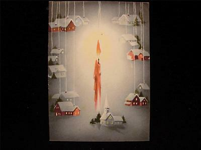 """VINTAGE """"CANDLE LIGHTING THE TOWN!!"""" CHRISTMAS GREETING CARD"""