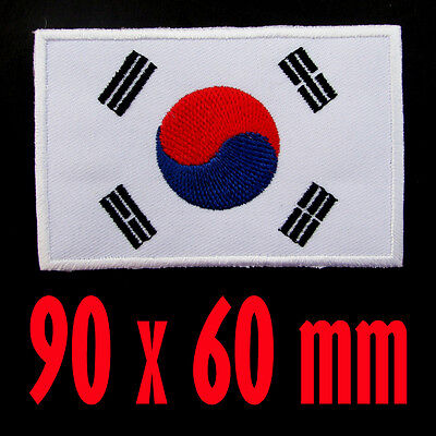 South Korea Flag Embroidered Patch Korean Iron On National Emblem ( 90 x 60 mm.)