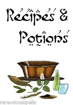 Recipes & Potion Spells Divider for Pagan Wicca Book of Shadows Witchcraft