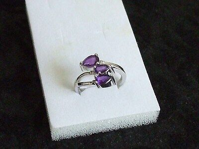 (SIZE 6.5) STERLING SILVER RING WITH AMETHYSTS GEMSTONES AND DIAMONDS