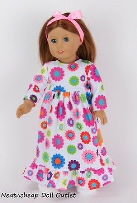 "Flower Night Gown Ribbon Doll Clothes Fits 18"" American Girl Sleep Pajamas"