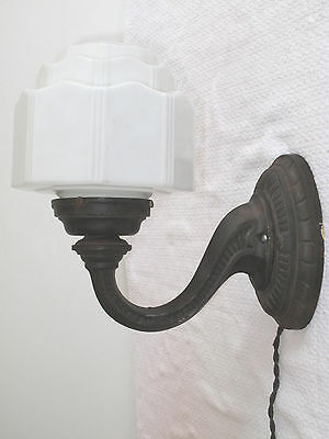 VTG ART DECO LARGE WALL SCONCE STEPPED GLOBE SKYSCRAPER 30'S  GOTHIC CAST IRON