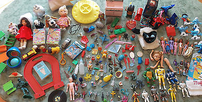 Vintage Toy Box Junk Drawer Lot Figures Cars Dolls Planes Puppets Smalls