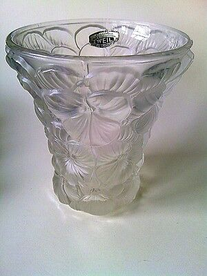 Vintage Weil Barolac Frosted Glass Pansy Vase Made in Czechoslovakia