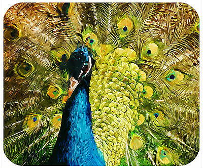 Mouse Pad Custom Personalized Thick Mousepad-Painted Peacock-Add Any Text Free