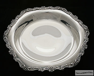International Silver Plated Vintage Round Serving Bowl, Footed (#708)