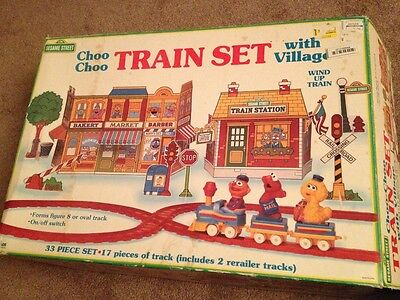 Vintage Sesame Street Choo Choo Playset with Village NEW UNUSED + Bonus GROVER