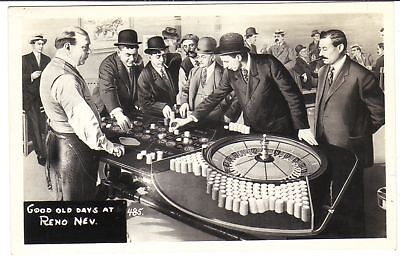POST CARD REAL PHOTO GOOD OLD  DAYS AT RENO NEVADA CASINO ROULETTE WHEEL