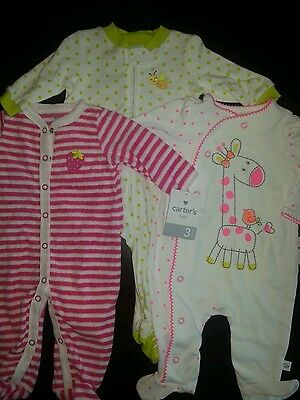 NWT 3 Month Girls Infant Sleepers Lot of 3  Cater's & First Moments