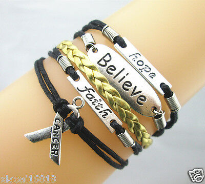 Hope/Believe/Hope/Breast Cancer Ribbon Charms Leather Braided Bracelet-pretty