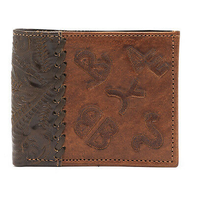 American West Western Mens Bi-fold Wallet Leather Brown 0528595