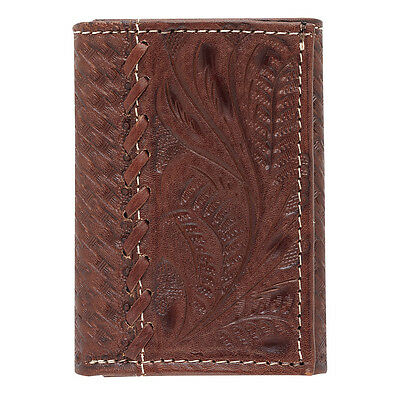 American West Western Mens Tri-fold Wallet Leather Brown 0538565