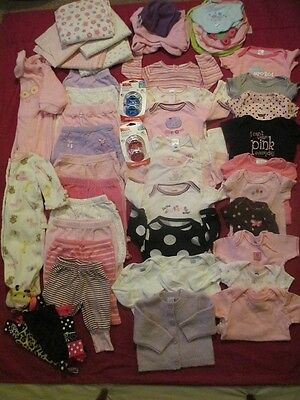 Lot of 46 Items Infant Newborn Baby Girl Size 0-3 Months Clothing & Accessories