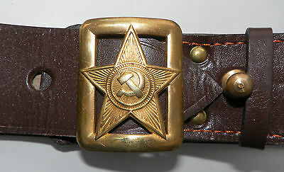 USSR Soviet Russian Red Army Military Commissar Officer Belt Buckles Brown NEW