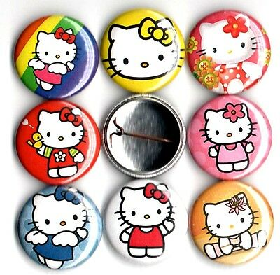 Hello Kitty x 8 NEW pins badges buttons classic original sanrio japan