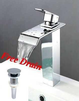 New Square Style Bath Bathroom Vessel Sink Waterfall Faucet Tap Chrome Finish