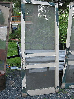 PAIR of SCREEN DOORS Vintage Wooden and Screen Set Matching Doors House Store