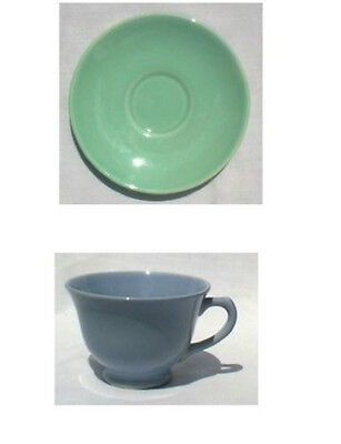 TAYLOR SMITH & TAYLOR LURAY WINDSOR BLUE CUP & SURF GREEN SAUCER