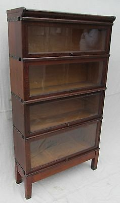 FOUR SECTION GLOBE WERNICKE ANTIQUE MISSION OAK BARRISTER BOOKCASE