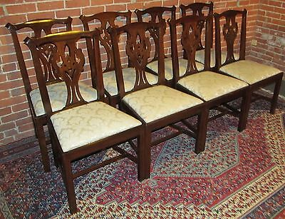 SET OF EIGHT HENKEL & HARRIS CHIPPENDALE VIRGINIA GALLERY MAHOGANY DINING CHAIRS