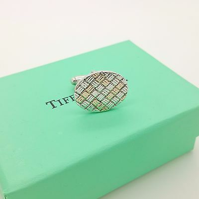 Vintage Tiffany & Co. Sterling Silver & 14k Gold Weave Single (1) Cufflink w/Box