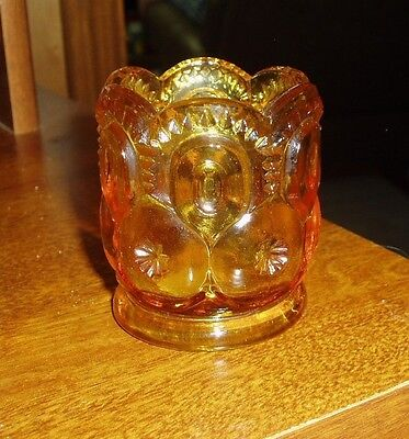 VINTAGE L.E. SMITH AMBER MOON and STARS PATTERN TOOTHPICK HOLDER