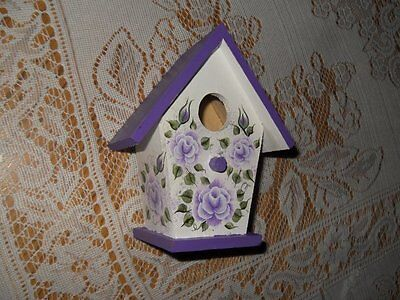 Shabby Cottage Chic Hand Painted Lavender Victorian Rose Wooden Bird House.