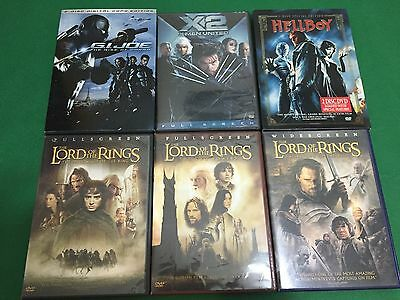 (6) DVD For 1 Low Price Lord Of The Rings Hellboy X-Men2 G.I. Joe