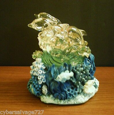 Four Dolphins On Waves Set On A Coral Reef Base Lighted Statue Nautical Decor