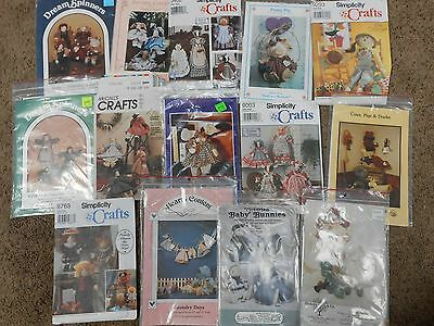 Large Lot of 14 Doll Stuffed Animal Toy Sewing Patterns UNCUT Vintage/Retro