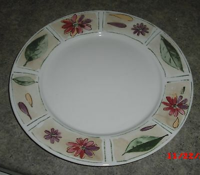 4 Gibson designs china SABRINA Dinner PLATES purple Flowers Leaves Rim