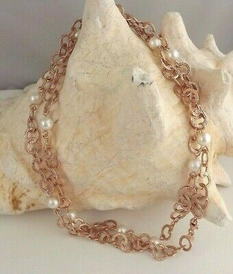 Hsn Rose Sterling Silver Textured Round Link And White Pearl Necklace Estate