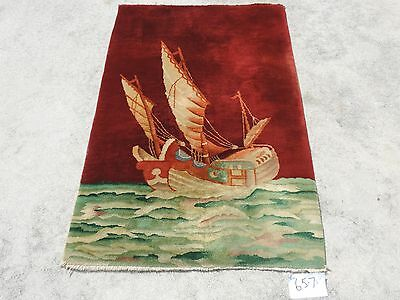 3x5ft. Beautiful Vintage Pictorial Chinese Red Wool Art Deco Area Rug 1950's