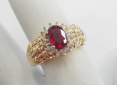 Genuine 10k Yellow Gold Created Oval Ruby Ring With Diamond Accents Sz 6