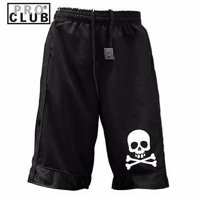 New Men's Proclub Printed Skull Funny Heavy Weight Basketball Mesh Shorts Pants